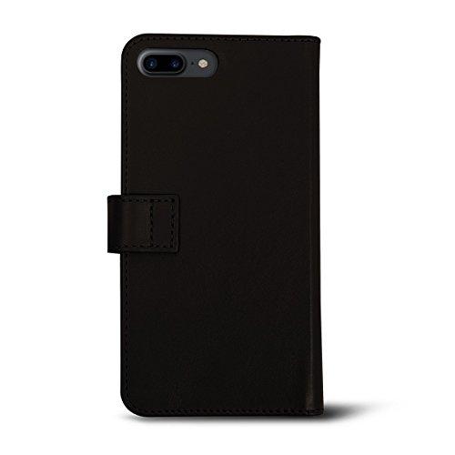 Lucrin - Étui Portefeuille pour iPhone 7 Plus - Cognac - Cuir Lisse Marron Foncé