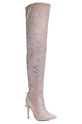 Stein Damen Nancy Overknee-stiefel Mit Spitzer Zehenpartie Stein