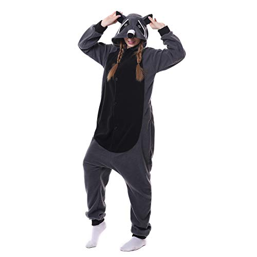 Pyjamas Bekleidung Animal Erwachsene Unisex Schlafanzüge Karneval Onesies Cosplay Jumpsuits Anime Carnival Spielanzug Kostüme Weihnachten Halloween Nachtwäsche Jungen Grau Waschbär (Junge Waschbären Kostüm)