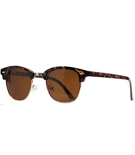 Caripe Retro Sonnenbrille 60er Damen Herren Halbrahmen Vintage verspiegelt - clu2(Hornstyle - braun getönt-polarisiert-6006)