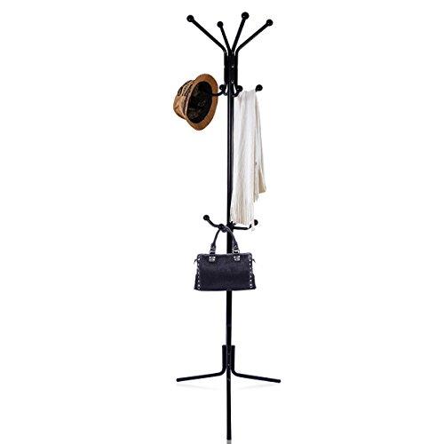 Kleiderständer, LASUAVY Garderobenständer stabil metall Kleiderständer Höhe 68 Inch ideal für kinder Erwachsene Garderobe Flur Foyer Büro Schwarz