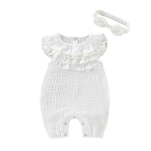 Mädchen Kleider festlich Outfits 2PCS Falten Prinzessin Kleid Kinder Kleider Baby Bekleidungssets Neugeborenen Bekleidungset mit Haarband 70-100cm ()