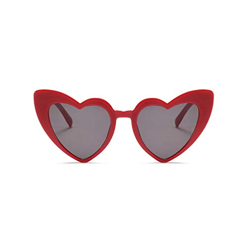 Sportbrillen, Angeln Golfbrille,Love Heart Sunglasses Women Cat Eye Vintage Christmas Gift Black Pink Red Heart Shape Sun Glasses For Women Uv400 as shown in photo red