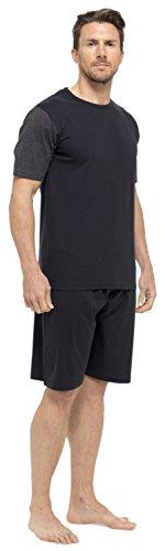 Tom Franks Herren Baumwolle Jersey T-Shirt & Shorts Pyjama Lounge Set - schwarz & Grau Marl, X-Large (Herren Lounge-set)