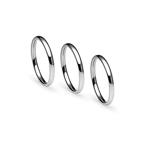 Stackable 3 Piece Set of Silver Tone Stainless Steel Plain Comfort Fit Wedding Band Ring, Size 6