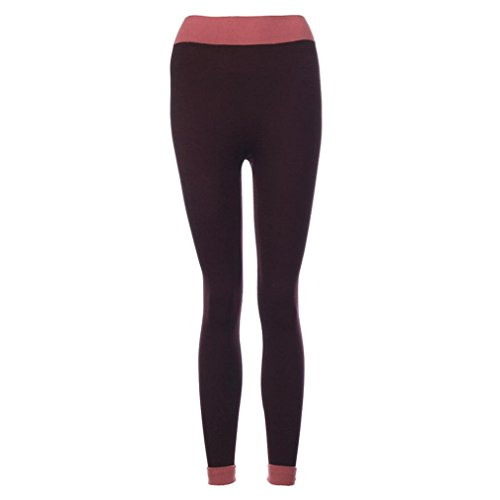 Pantalon de yoga,Tonwalk Femmes Yoga Fitness/Workout leggings Taille haute Patchwork Maigre Un pantalon Vin rouge