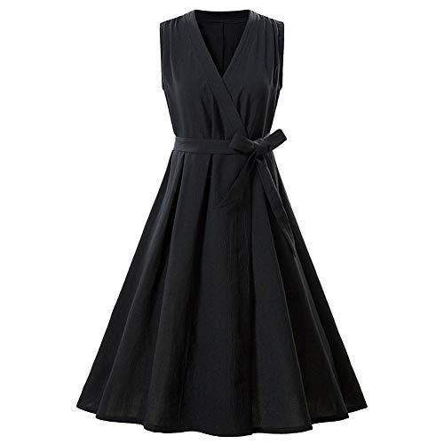 XUEGM-hat Womens V-Ausschnitt ärmellos Cross Wrap lässig Flare Midi Kleid Vintage Baumwolle Leinen Kleid Laien Anzug für Party, Hochzeit, Cocktail,L - Womens Kirche Anzüge