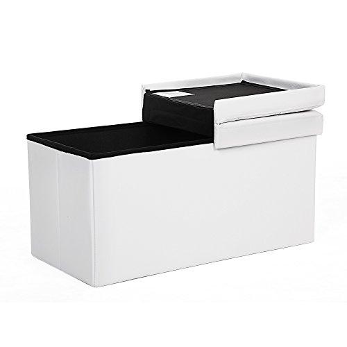 Songmics 80 L Sitzbank Sitzhocker faltbare Sitztruhe belastbar bis 300 kg 76 x 38 x 38 cm weiß LSF45WT