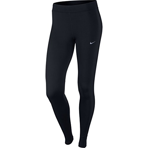 NIKE Damen Dry Fit Essential Tights Hose, schwarz - Black/Reflective Silv, Gr. L (Running Frauen Nike Hose)