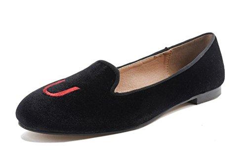 GLTER Le donne dei pattini degli appartamenti dei sandali tacco basso alfabeto ricamato rotonde bocca superficiale Scarpe barca Court Scarpe Nero Black