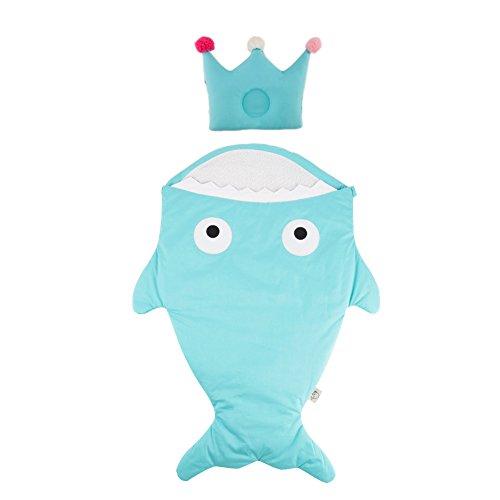 Araus sacco a pelo neonato, bambino sacco a pelo cotone a forma di squalo morbido e comodo coperta per divano e letto, sacco a pelo pesce per passeggino con cuscino