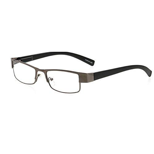 VEVESMUNDO Damen Herren Lesebrillen Metall Augenoptik Brille Lesehilfe Sehhilfe Arbeitsplatzbrille (1 Stück in Grau, 1.5)