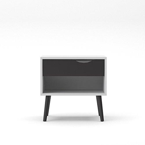 Tvilum 7539449GM Diana 1Schublade Nachttisch, weiß/schwarz matt