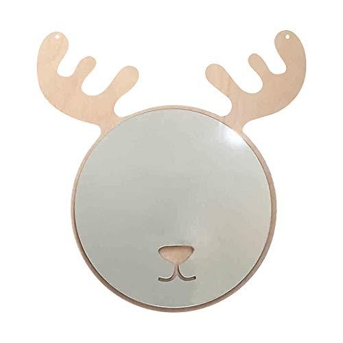 Y56(TM) NordischAcryl SpiegelKarikaturGeweih Holzspiegel Wand Kamera RequisitenWandspiegel KinderzimmerWand Dekoration, 20 x 22.5cm, Silver