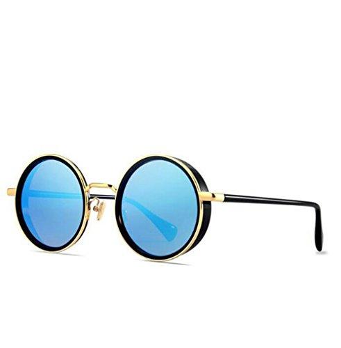 SUN^GLASSES SONNENBRILLEN Neue Optische Offset Driver Spiegel Retro Augen Sonnenbrillen, Kim Box/Blaue Stirnfläche