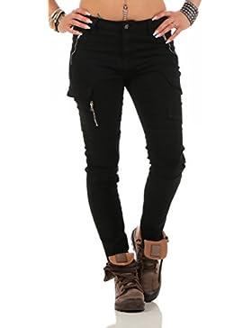 11300 Fashion4Young Damen Jeans Röhrenjeans Hose Damenjeans Boyfriend Cargohose