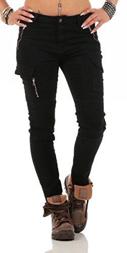 11300 Fashion4Young Damen Jeans Röhrenjeans Hose Damenjeans Boyfriend Cargohose (L=40, schwarz)