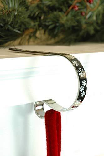 LPS - 2 supporti a clip per camino per calza di Natale, con motivo a fiocco di neve bianco, sostengono la più colma delle calze, colore: Argento