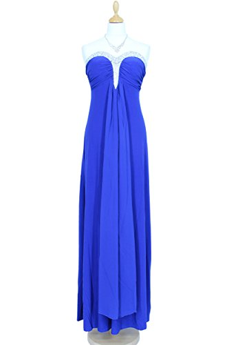 KAJ Moden Langes elegantes Abendkleid Carola mit Schleppe vorne vers. Farben Gr. S - XL Blau