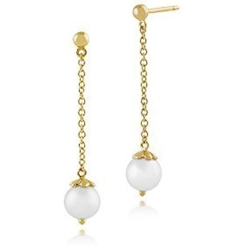 Gemondo Orecchini di perla, 925Argento Sterling Placcato Oro 2ct perla d' acqua dolce Orecchini pendenti