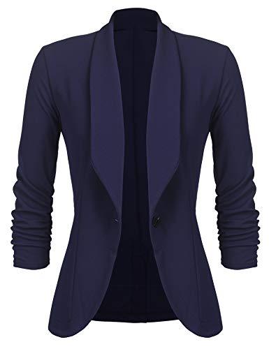 Unibelle Damen Blazer Cardigan Dünn 3/4 Längere Elegant Leicht Bolero Jacke Blazer Slim Fit Anzug Trenchcoat , Aa-navyblau, 42(Herstellergröße:XL)