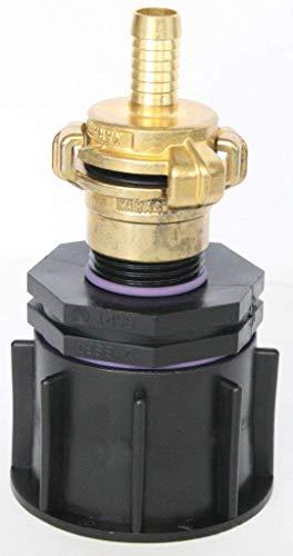'ame80 _ 100 + 104 Bec Adaptateur S60 x 6 filetage épais avec raccord de réduction AG 1 + Geka - Lave-vaisselle Embrayage et laiton - Fiche femelle avec douille de tuyau adaptateur, IBC Réservoir Eau de Pluie de Accessoires de conteneurs Mamelon de Bidon, tonne, zysterne