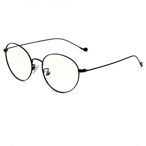 Blaulicht Schutzbrille Blaues Licht, das Gläser blockiert Anti-Strahlungsgläser-Trend-Vollbild-rundes Gesichts-Brillen-weibliches Flachglas ZHAOSHUNLI (Farbe : Schwarz)