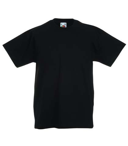 Fruit of the Loom Childrens T Shirt in Black Size 7-8 (SS6B)
