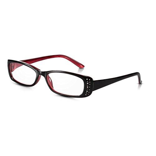 Read Optics Diamant Lesebrille für Damen: Designer Brille mit +2,5 Dioptrien in Schwarz und Rot mit Strass/Edelstein Details. Aus leichtem und stabilem Polykarbonat, verfügbar in Stärke +1,0 bis +3,5