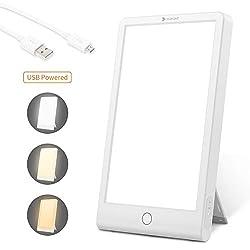 Hosome Tageslichtlampe Lichttherapielampe 10000 lux, USB Tageslichtleuchte mit 3 Lichtfarben UV-FREE Vollspektrumlampe mit Stufenlosem Dimmer,USB LED Daylight Lamp mit Zeitschaltuhr,Touch-Steuerung