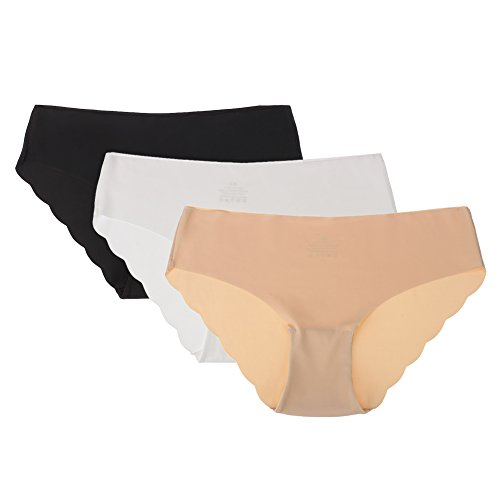 Colleer Panty Invisible Underwear, Women's Brief Seamless Ice Silk Thong Tanga 3 Pack