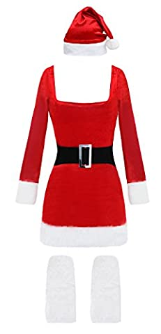 Kimring Women's Miss Claus Costume Christmas Bodycon Dress Cosplay Suit