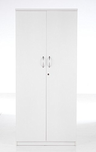 BiMi White High Office Cupboard, Lockable Double Doors and 4 Shelves - Tall Office Cupboard