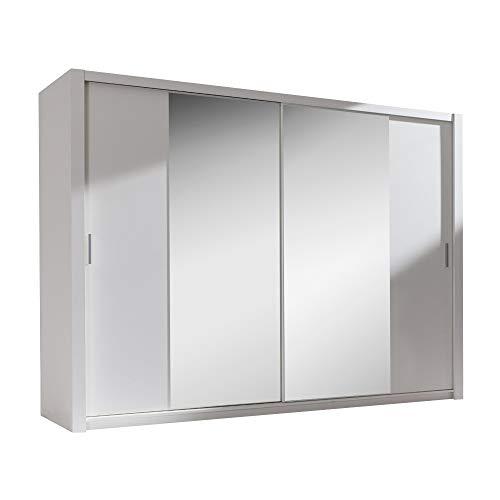 Selsey Ordu - Kleiderschrank / Schwebetürenschrank in Matt mit Spiegel (Weiß 220 cm)