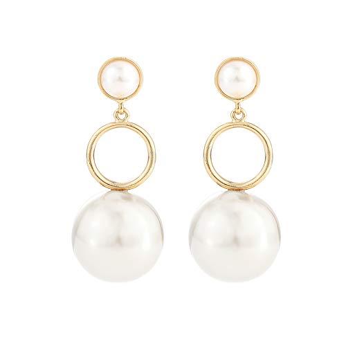 Metme Simulierte Perlen Ohrringe Anhänger Tropfen Baumeln Ohrringe für Party Daily Accessoires Schmuck Geschenke Weiß