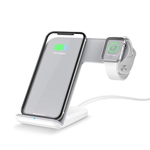 hahuha Handy  Drahtloses Ladegerät, Qi Wireless 2in1 10W Schnellladegerät Ladehalter Pad Dock Ständer für Apple Watch Serie 4 40 / 44mm für iPhone X/XS/XS MAX/XR (Weiss)