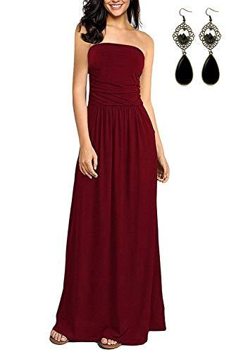 BUOYDM Damen Kleid mit Blüte Drucken Bandeau Bustier Geblümt Trägerlos Sommerkleid Strandkleid Abendkleid Elegante Kleider,Rot,M -