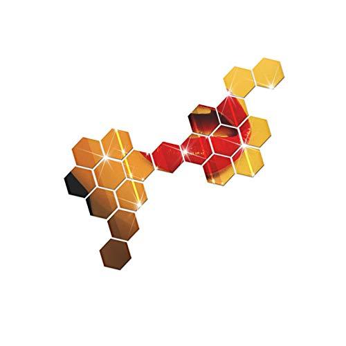 sunnymi 12Pcs 3D Spiegel Hexagon Wandaufkleber 46x40x23mm Acryl Entfernbare Abziehbild Ausgangsdekor Kunst DIY (Gold)