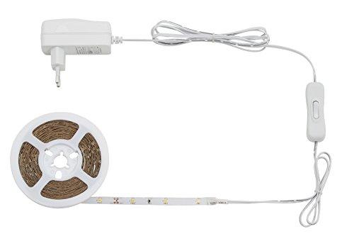 Briloner Leuchten 5 m LED Band mit 150 x LED inklusive Schalter, LED Stripe selbstklebend, für Vitrine, Bett, Schrank, Treppe & Co, LED Streifen 14 W (Schrank-licht-schalter)