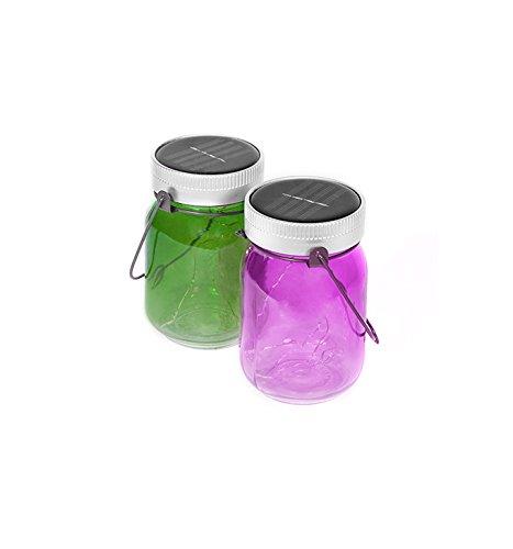 Thumbs Up UK solarbetriebene Lichtgläser für den Außengebrauch, Violett/Grün, 2Stück