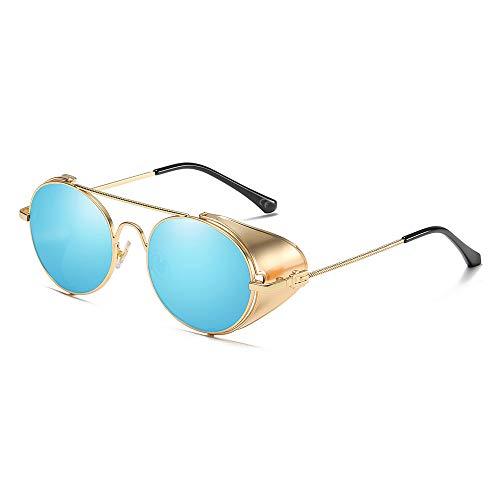 AMZTM Vintage Sonnenbrille Steampunk Stil Runder Metallrahmen für Frauen und Männer - Viktorianischen Double Bridge Brille mit Seitenschild(Gold Rahmen Eisblaue Linse)