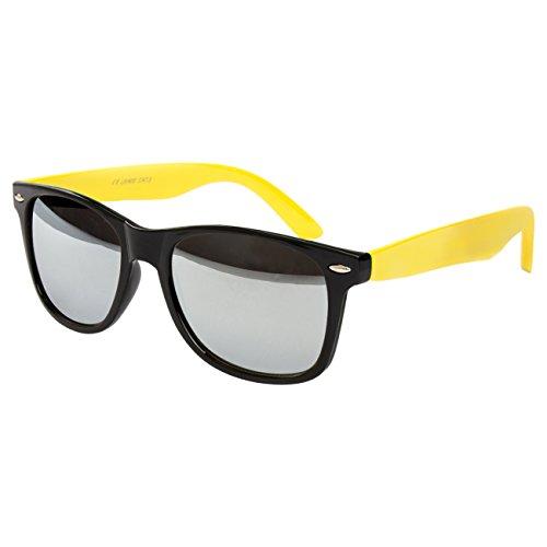 Ciffre Sonnenbrille Nerdbrille Nerd Retro Look Brille Pilotenbrille Vintage Look - ca. 80 verschiedene Modelle Schwarz Gelb Verspiegelt