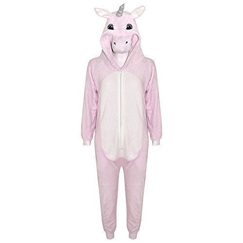 Kinder Weiche Flauschige Tier Strampelanzug - Onesie Unicorn Pink 11-12 (Meine Monster High Kostüme)