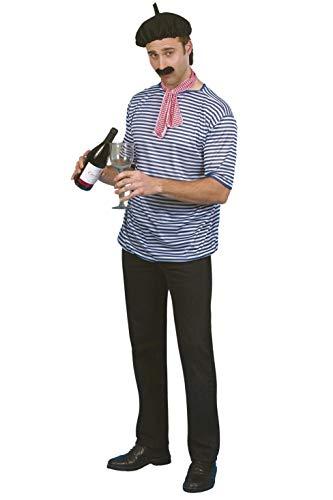 Smiffys Franzosen Kostüm Set Baskenmütze Shirt Tuch Bart, Größe ()