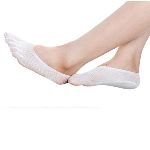 Liumiang Socken,Kompressionsstrümpf,Female Socks Five Toe Sock Slippers Invisibility For Solid Color Crew Socks With Separate Toes Ladies Meias #10 White