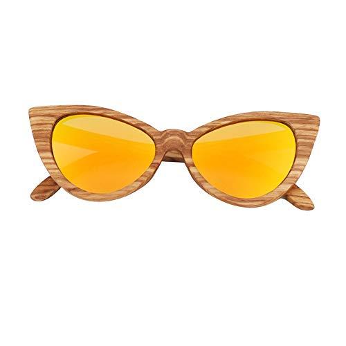 MQW UV400 Pink Yellow Cat Eyes Damen Sonnenbrille Zebra Butterfly Shaped Polarized Sunglasses Bamboo Glasses Schön und modisch (Farbe : Yellow)