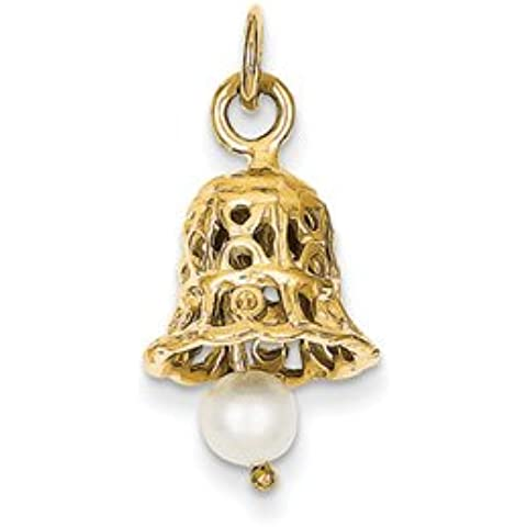 14k Wedding Bell con Pearl Charm da UKGems - 14k Wedding Bell with Pearl Charm by UKGems - Wedding Bells Charm