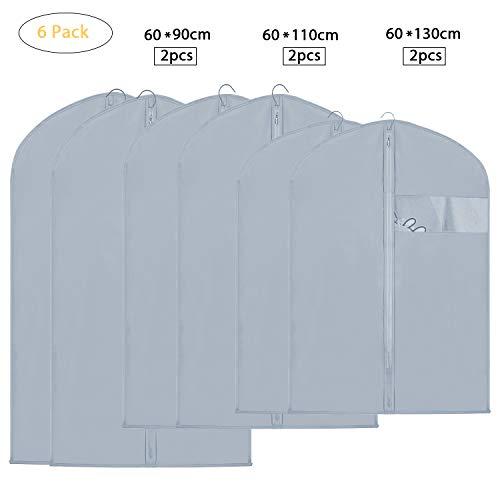 EKKONG 6 Stück Kleidersack, Kleidersäcke, Hochwertiger Anzugsack/Kleiderhülle/T-Shirt aus Atmungsaktivem Material - Erstklassiger Schutz Aufbewahrung für Anzüge und Kleider