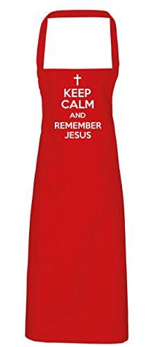 hippowarehouse Keep Calm and Remember Jesus Schürze Küche Kochen Malerei DIY Einheitsgröße Erwachsene, rot, Einheitsgröße (Jesus Schürze Christus)