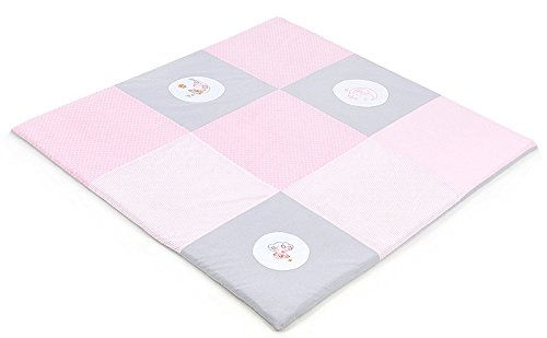 XXL Baby Krabbeldecke Spieldecke & Laufgittereinlage Patchworkdecke weich gepolstert und groß Mond Bär Lila (160 x 160 cm, Rosa)